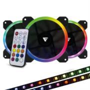 KIT VENTILADORES VORAGO GAME FACTOR FKG400 3 FANS 120MM RGB 2 TIRAS LED CONTROL REMOTO